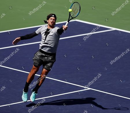 Feliciano Lopez of Spain in action against Tomas Berdych of Czech Republic during the BNP Paribas Open tennis tournament at the Indian Wells Tennis Garden in Indian Wells, California, USA, 08 March 2019. The men's and women's final will be played on 17 March 2019.