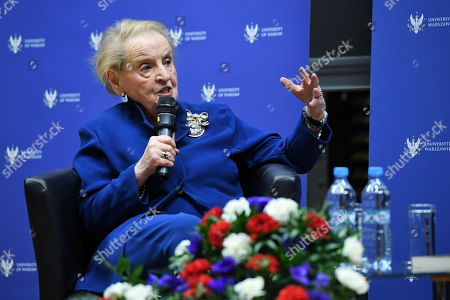 Former US Secretary of State Madeleine Albright speaks during a meeting at the Warsaw University in Warsaw, Poland, 08 March 2019. The meeting was on US and Russian diplomacy and on policies of Eastern European countries.