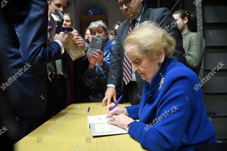 Former US Secretary of State Madeleine Albright (R) during a meeting at the Warsaw University in Warsaw, Poland, 08 March 2019. The meeting was on US and Russian diplomacy and on policies of Eastern European countries.