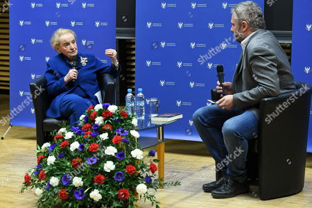 Former US Secretary of State Madeleine Albright (L) speaks next to a journalist Bartosz T. Wielinski (R) during a meeting at the Warsaw University in Warsaw, Poland, 08 March 2019. The meeting was on US and Russian diplomacy and on policies of Eastern European countries.