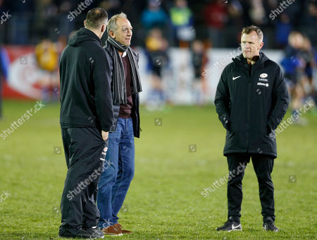 Former Saracens coach Brendan Venter with coaches Alex Sanderson (left) and Mark McCall before the game