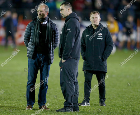 Stock Photo of Former Saracens coach Brendan Venter (left) with coaches Alex Sanderson (centre) and Mark McCall before the game