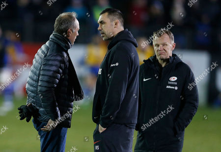 Stock Picture of Former Saracens coach Brendan Venter (left) with coaches Alex Sanderson (centre) and Mark McCall before the game