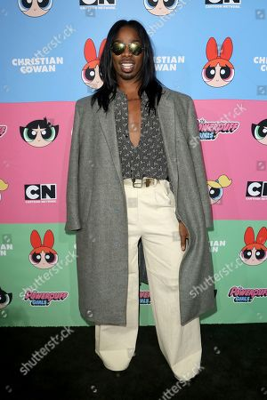 EJ King arrives at the Christian Cowan x The Powerpuff Girls Fashion Show, in Los Angeles