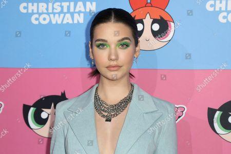 Amanda Steele arrives at the Christian Cowan x The Powerpuff Girls Fashion Show, in Los Angeles
