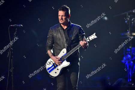 Dan Donegan of the band Disturbed perform at the Allstate Arena, in Rosemont, Ill
