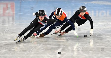 Sumire Kikuchi of Japan (L), Rianne de Vris from the Netherlands (C) and Sara Luca Bacskai from Hungary (R) compete in the Ladies 1500m Ranking finals at the ISU World Short Track Speed Skating Championships in Sofia, Bulgaria, 09 March 2019.