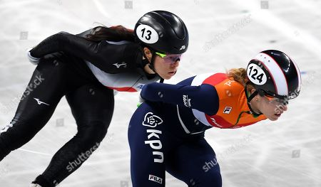 Rianne de Vries of the Netherlands (R) and Sumire Kikuchi from Japan (L) compete in the Ladies 1500m Ranking finals at the ISU World Short Track Speed Skating Championships in Sofia, Bulgaria, 09 March 2019.