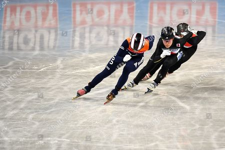 Rianne de Vries of the Netherlands (L), Sumire Kikuchi of Japan (C) and Sara Luca Bacskai from Hungary (R) competes in the Ladies 1500m Ranking finals at the ISU World Short Track Speed Skating Championships in Sofia, Bulgaria, 09 March 2019.