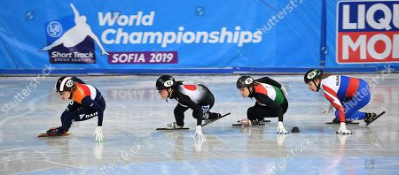 Rianne de Vries of the Netherlands (L), Sumire Kikuchi of Japan (2-L), Sara Luca Bacskai of Hungary (2-R) and Petra Rusnakova of Slovakia (R) compete in the Ladies 1500m Ranking finals at the ISU World Short Track Speed Skating Championships in Sofia, Bulgaria, 09 March 2019.