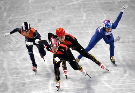 Chunyu QU of China (front), Yize ZANG of China (C), Rianne de VRIES of the Nitherlands (L) and Elise CHRISTIE of Great Britain (R) competes in the Ladies 500m Final at the ISU World Short Track Speed Skating Championships in Sofia, Bulgaria, 09 March 2019.