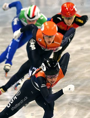 Lara van RUIJVEN of the Netherlands (front) competes in the Ladies 500m Final at the ISU World Short Track Speed Skating Championships in Sofia, Bulgaria, 09 March 2019.