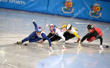 Elise CHRISTIE of Great Britain (L), Ji Yoo KIM of Korea (2-L), Hanne DESMET  of Belguim (2-R) and Courtney Lee SARAULT of Canada (R) competes in the Ladies 1500m Semifinals at the ISU World Short Track Speed Skating Championships in Sofia, Bulgaria, 09 March 2019.