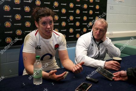 England Women vs Italy Women. England's Sarah Hunter and head coach Simon Middleton speak to the media after the game