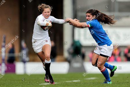 England Women vs Italy Women. England's Emily Scott and Maria Magatti of Italy
