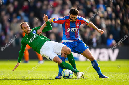 Glenn Murray of Brighton and Hove Albion James Tomkins of Crystal Palace