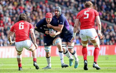 Scotland vs Wales. Scotland's Grant Gilchrist with Josh Strauss of Wales