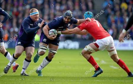 Scotland vs Wales. Scotland's Josh Strauss and Justin Tipuric of Wales
