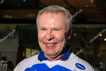 The legendary Russian, international ice hockey player and United Nations Environment Patron for Polar Regions Slava Fetisov looks on during an interview after playing an ice hockey match against Kenya's 'Ice Lions' ice hockey team and the last team game ahead of the 4th UN Environment Assembly (UNEA), in Nairobi, Kenya, 09 March 2019. The match was among events that UN Environment had planned before the last ice hockey game that they are planning to be played in the Arctic in April 2020, that is meant to draw global attention and support to the rapid climate change in the polar regions that affects large parts of the planet, leading to rising global sea levels, floods and droughts.