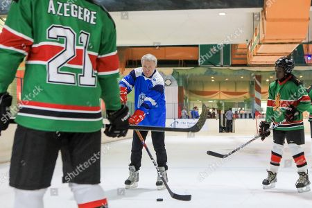 The legendary Russian, international ice hockey player and United Nations Environment Patron for Polar Regions Slava Fetisov (2-L) in action during an ice hockey match against Kenya's 'Ice Lions' ice hockey team and the last team game ahead of the 4th UN Environment Assembly (UNEA), in Nairobi, Kenya, 09 March 2019. The match was among events that UN Environment had planned before the last ice hockey game that they are planning to be played in the Arctic in April 2020, that is meant to draw global attention and support to the rapid climate change in the polar regions that affects large parts of the planet, leading to rising global sea levels, floods and droughts.