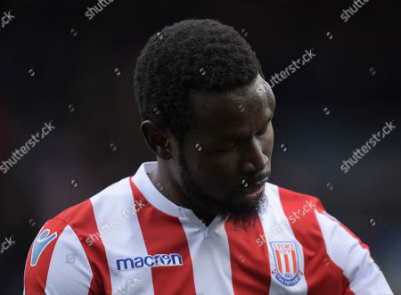 Mame Biram Diouf of Stoke City with a giant bump on his head at full-time