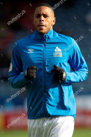 Mathias Zanka Jorgensen of Huddersfield Town as he warms up for the Premier League match between Huddersfield Town and Bournemouth at the John Smiths Stadium, Huddersfield