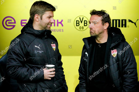 Stuttgart's director of sports Thomas Hitzlsperger (L) Stuttgart's head coach Markus Weinzierl (R) prior to the German Bundesliga soccer match between Borussia Dortmund and VfB Stuttgart in Dortmund, Germany, 09 March 2019.