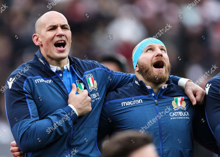 England vs Italy. Italy's Sergio Parisse and Leonardo Ghiraldini stand for the anthems