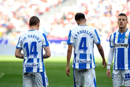 CD Leganes' defenders Vasyl Kravets (L) and Diego Reyes (C), with the name of their mothers on their back, before the Spanish LaLiga soccer match between Atletico de Madrid and CD Leganes at Wanda Metropolitano stadium in Madrid, Spain, 09 March 2019.