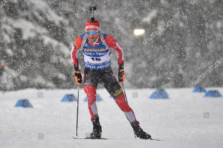Simon Eder of Austria in action during the Men's 10 km sprint competition at the IBU Biathlon World Championships in Oestersund, Sweden, 09 March 2019.