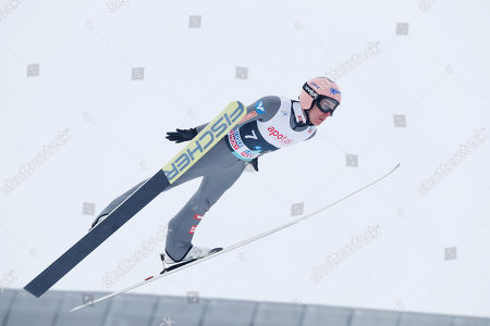 Stefan Kraft of Austria soars through the air during the Men's Team HS134 race at the FIS Ski Jumping World Cup in Holmenkollen, Oslo, Norway, 09 March 2019.