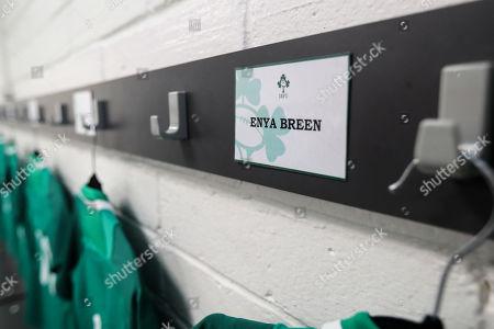 Ireland Women vs France Women. A view of Ireland's Enya Breen's name ahead of her debut