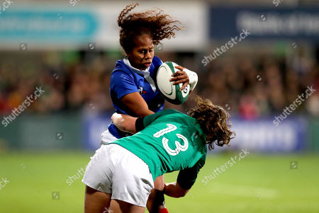 Ireland Women vs France Women. Ireland's Enya Breen and Yolaine Yengo of France