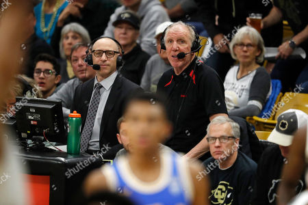 R m. Television color analyst Bill Walton in the second half of an NCAA college basketball game, in Boulder, Colo. Colorado won 93-68