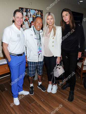 Stock Picture of Ken Solomon, Nick Bollettieri, Sophia Hutchins and Caitlyn Jenner attend the Tennis Channel Suite at the BNP Paribas Open in Indian Wells, CA on Saturday, March 9.