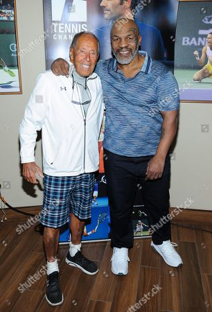 Stock Image of Nick Bollettieri and Mike Tyson attend the Tennis Channel Suite at the BNP Paribas Open in Indian Wells, CA on Saturday, March 9.