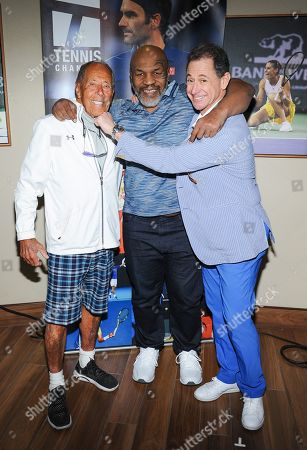 Nick Bollettieri, Mike Tyson and Ken Solomon attend the Tennis Channel Suite at the BNP Paribas Open in Indian Wells, CA on Saturday, March 9.