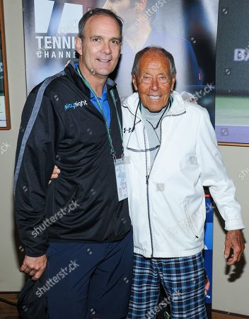 Paul Annacone and Nick Bollettieri attend the Tennis Channel Suite at the BNP Paribas Open in Indian Wells, CA on Saturday, March 9.