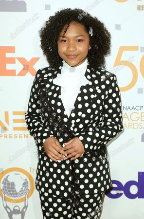 Stock Image of Laya DeLeon Hayes arrives at the 50th NAACP Image Awards Nominees Luncheon at the Loews Hotel, in Los Angeles