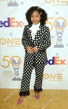 Laya DeLeon Hayes arrives at the 50th NAACP Image Awards Nominees Luncheon at the Loews Hotel, in Los Angeles