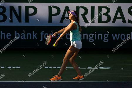 Stock Picture of Danielle Collins (USA) defeated Kirsten Flipkens (BEL) 6-4, 6-1 at the BNP Paribas Open at the Indian Wells Tennis Garden in Indian Wells, California. ©Mal Taam/TennisClix/CSM