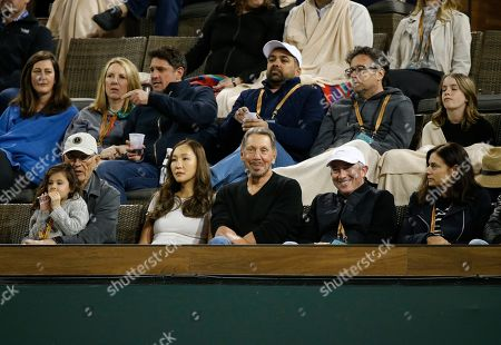 Larry Ellison watches the match between Novak Djokovic (SRB) and Bjorn Fratangelo during the BNP Paribas Open at Indian Wells Tennis Garden in Indian Wells, California