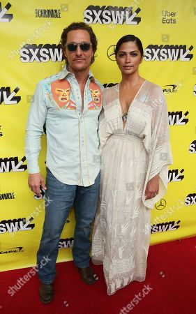 """Matthew McConaughey, Camila Alves. Matthew McConaughey and his wife, Camila Alves, arrive for the world premiere of """"The Beach Bum"""" at the Paramount Theatre during the South by Southwest Film Festival, in Austin, Texas"""