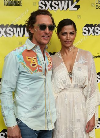 """Matthew McConaughey, Camila Alves. Matthew McConaughey and his wife, Camila Alves arrive for the world premiere of """"The Beach Bum"""" at the Paramount Theatre during the South by Southwest Film Festival, in Austin, Texas"""