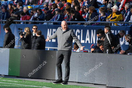 New England Revolution head coach Brad Friedel coaches from the sideline during the MLS game between Columbus Crew and the New England Revolution held at Gillette Stadium in Foxborough Massachusetts. Columbus defeats New England 2-0