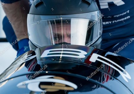 Stock Image of Brad Hall of Great Britain compete in the 4-Man Bobsleigh event at the IBSF Bobsleigh and Skeleton World Championships in Whistler, Canada, 09 March 2019.