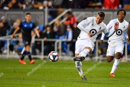 Minnesota United defender Francisco Calvo (5) passes during the MLS game between Minnesota United and the San Jose Earthquakes at Avaya Stadium in San Jose, California