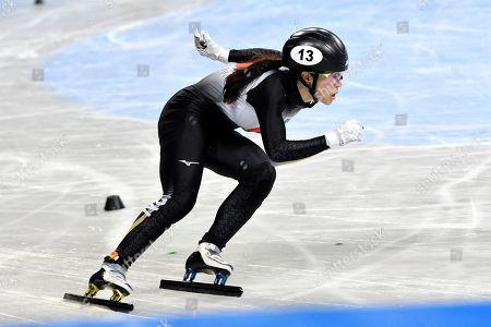 ISU Short Track World Championships at the Arena Armeec in Sofia. Sumire Kikuchi (JPN) in heats 500 meter