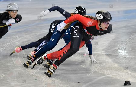 ISU Short Track World Championships at the Arena Armeec in Sofia. Courtney Lee SARAULT (CAN) in heats 500 meter