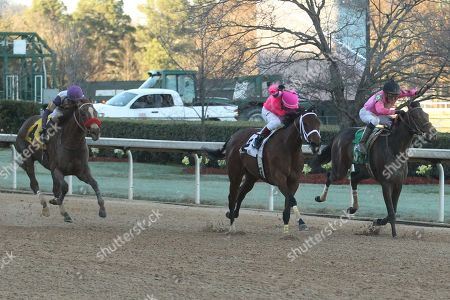 Hot Springs, Arkansas, U.S. - , Chocolate Kisses #5, ridden by Orlando Mojica, fighting off Motion Emotion #2, ridden by Jon Court, and Bizwhacks #4, ridden by Mario Gutierrez, in the Honeybee Stakes at Oaklawn Park in Hot Springs, Arkansas. ©Justin Manning/Eclipse Sportswire/CSM